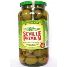 Královské velké zelené olivy s papričkou